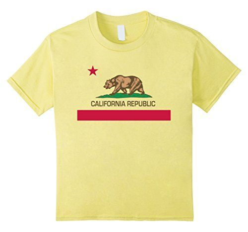 Kids California Republic Flag T-Shirt 4 Lemon LoneStarDes