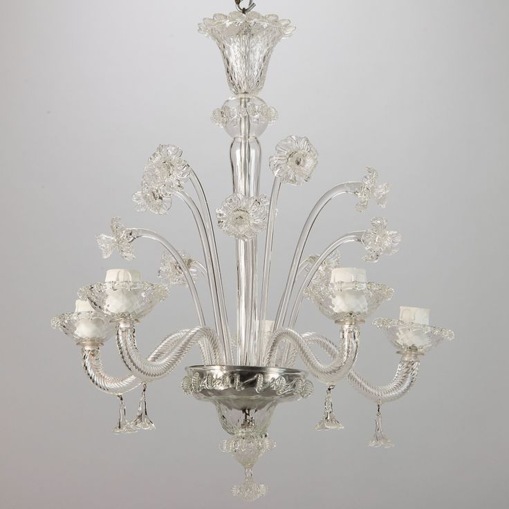 Venetian Four Light Clear Glass Daffodil Chandelier Circa 1900 With Several
