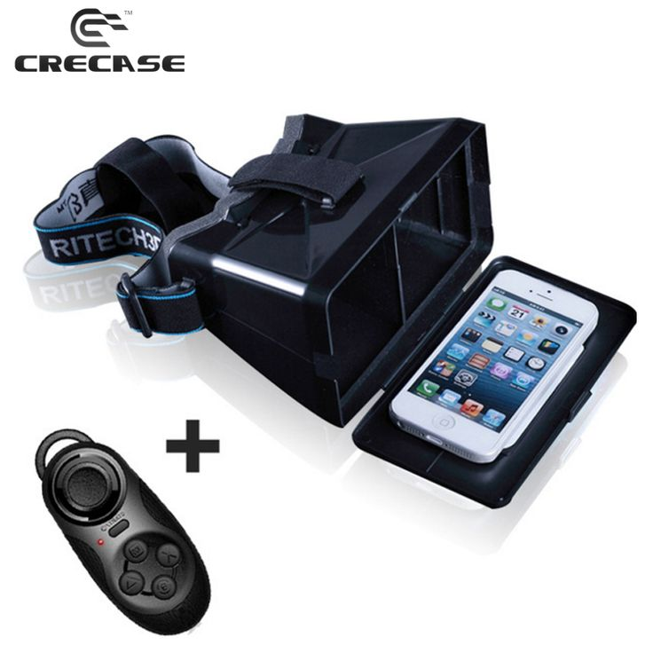 """Find More 3D Glasses/ Virtual Reality Glasses Information about RITECH Head Mount VR Universal Virtual Reality 3D Glasses With Google Cardboard for 3.5 5.6"""" Smartphones + Bluetooth Controller,High Quality cardboard figures,China cardboard pallet Suppliers, Cheap cardboard box manufacturers china from GUANGZHOU CRECASE FLAGSHIP STORE on Aliexpress.com"""
