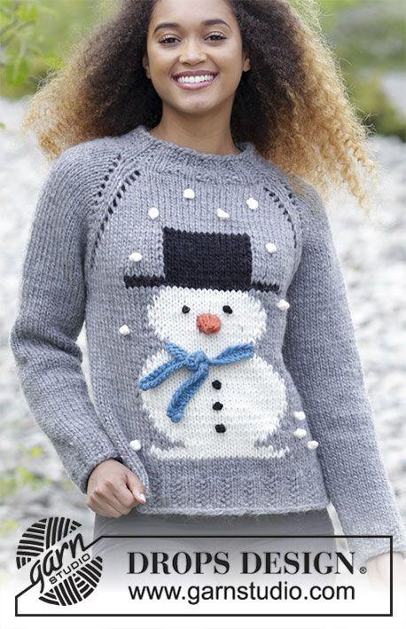 Pull tricoté de haut en bas, avec jacquard bonhomme de neige et emmanchures raglan, en DROPS Eskimo. Du S au XXXL