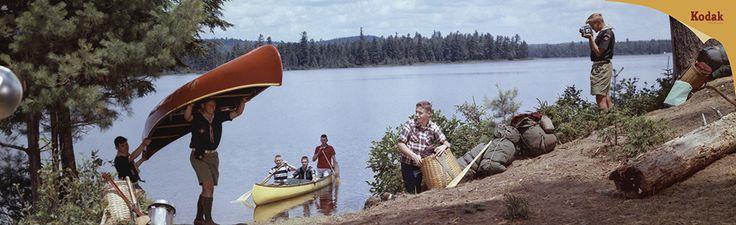 Kodak ad 1960 - Boy scouts with canoe, Camp Massawepie, Saranac Lake, NY, photo by Herbert Archer