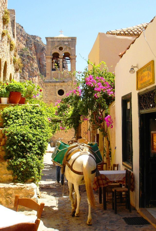 Greece Travel Inspiration - Donkey in Monemvasia, Peloponnese, Greece