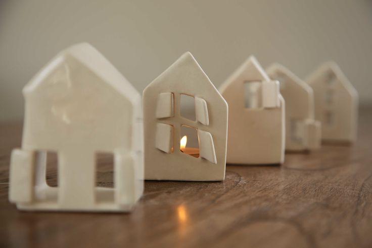 #EtsyDecor #etsy #ceramics Set of two Love Houses  Modern ceramic candle by SimoneCeramics, $65.00