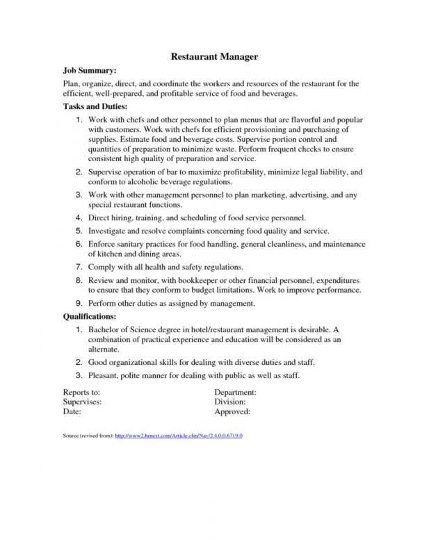 Restaurant Manager Job Description Restaurant Management Job Description Template Management