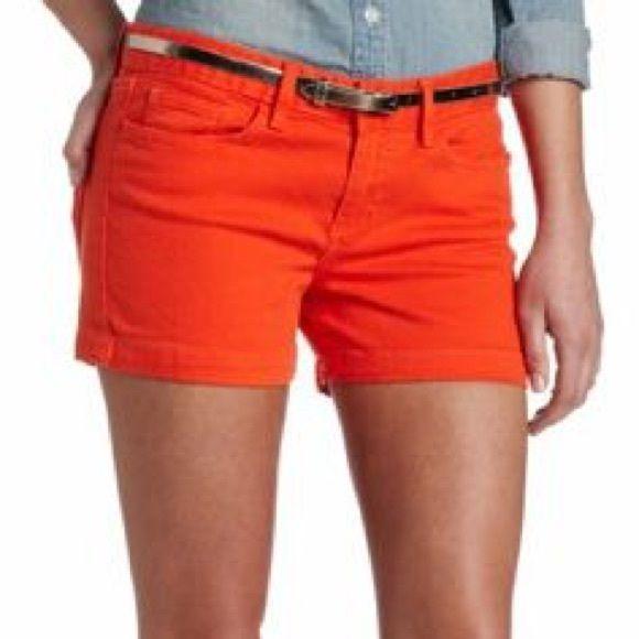 Calvin Klein Orange Jean Shorts Size 27/4, worn once great condition! Calvin Klein Shorts Jean Shorts