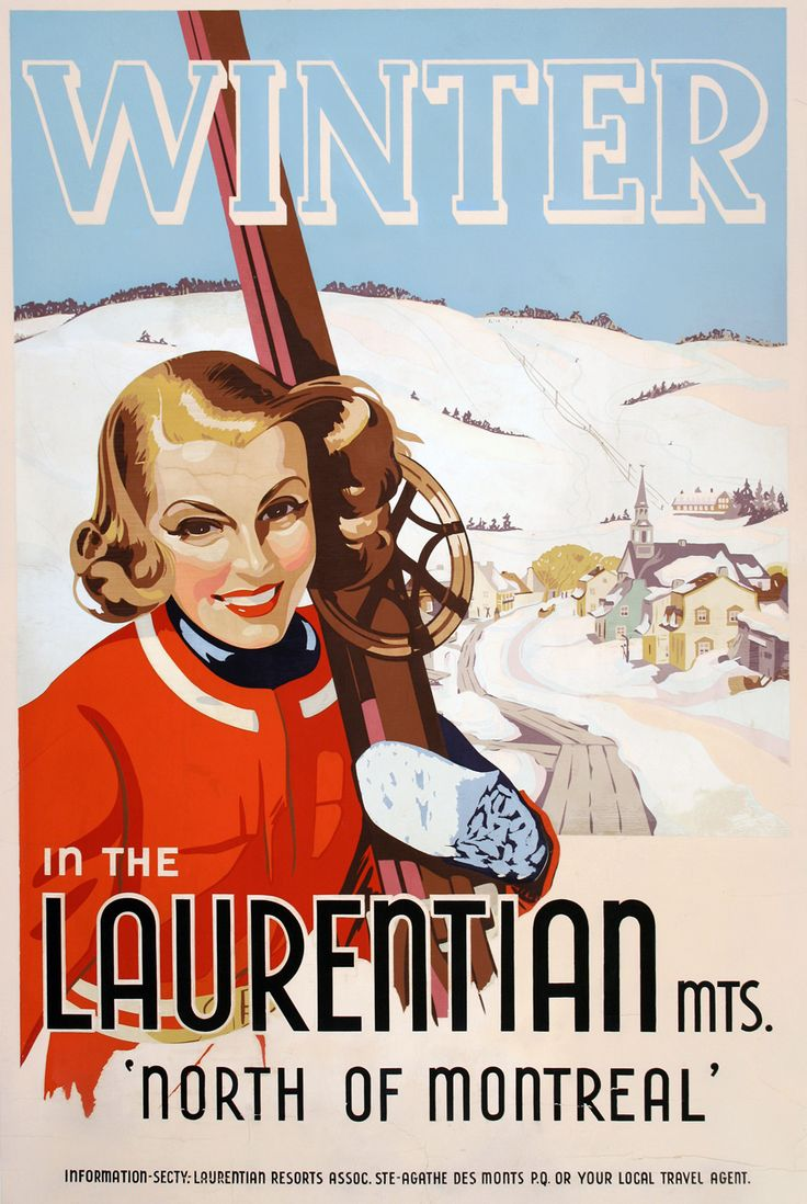 Travel poster for the Laurentian Mountains, Quebec, 1955.