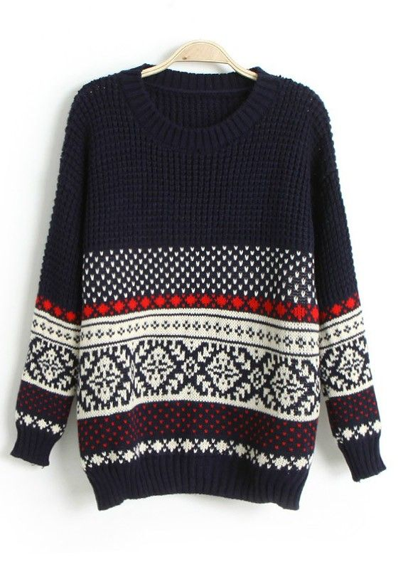 Navy Blue Geometric Round Neck Loose Wool Sweater omg I love this!!