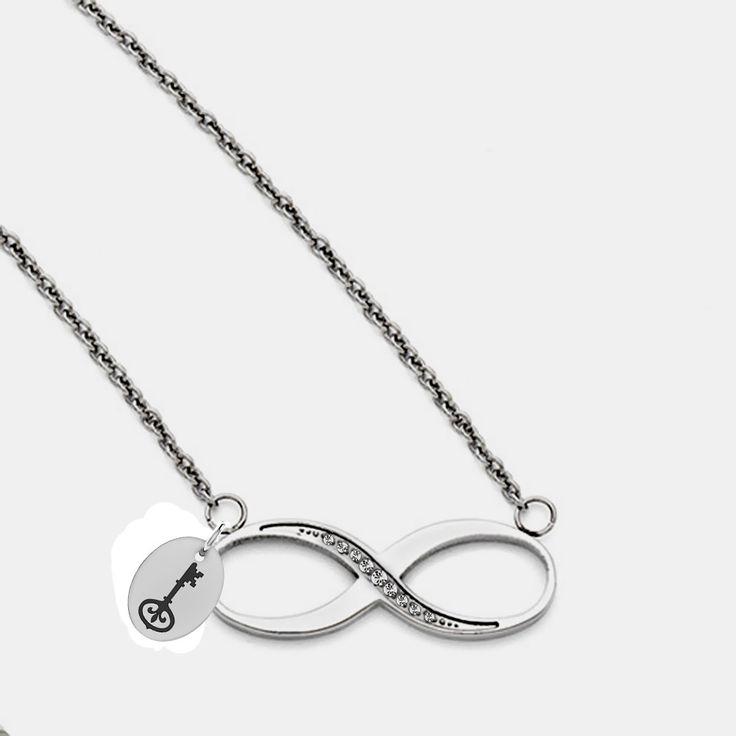 Kappa Kappa Gamma Symbol Stainless Steel Infinity Necklace