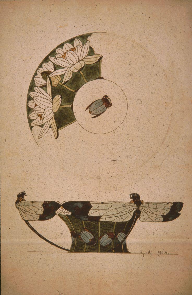 Gustav Gaudernack alternative design (2) for Dragonfly vase in gilt silver and plique-a-jour enamel and translucent enamel over guilloché pattern with beetle in cloisonné enamel(bottom). 1908.