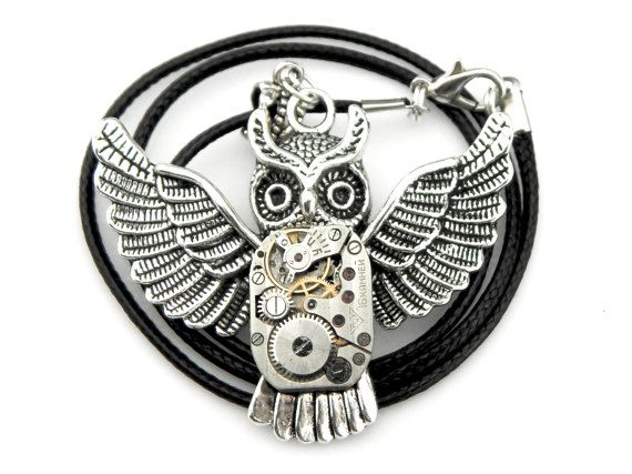 Clockpunk Owl  Halloween Owl Necklace  Steampunk by SteamSect