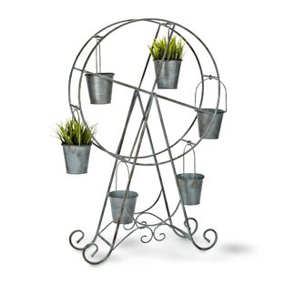"""6 POT MERRY GO ROUND PLANTER - lovely vintage inspired Ferris-wheel style planter in antique blue metal finish 35"""" H"""