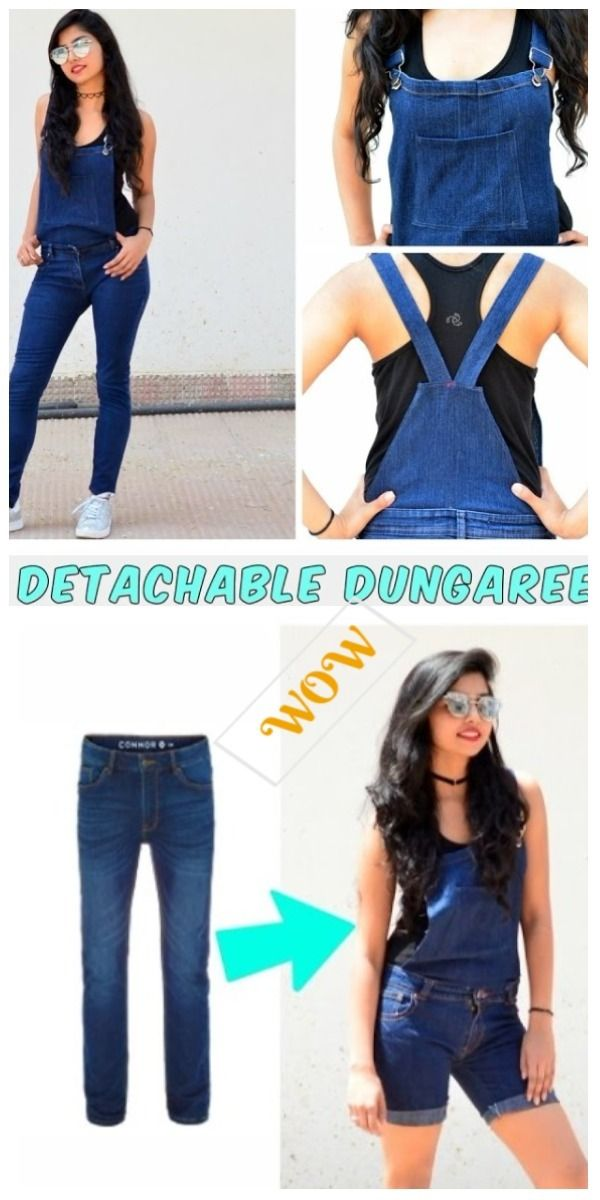 e1099738665 Stylish Ways to Alter Old Jeans into New Fashion-Turn Old Jeans Into  Detachable Dungaree Overalls Tutorial
