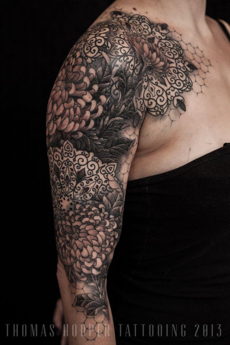 lace chrysanthemum mandala ornamental tattoo sleeve thomas hooper tattooing 4 tattoos. Black Bedroom Furniture Sets. Home Design Ideas