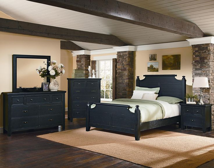 Vaughan Bassett Timber Mill Queen Broomhandle Poster Bed With Reclaimed  Look   Darvin Furniture   Headboard