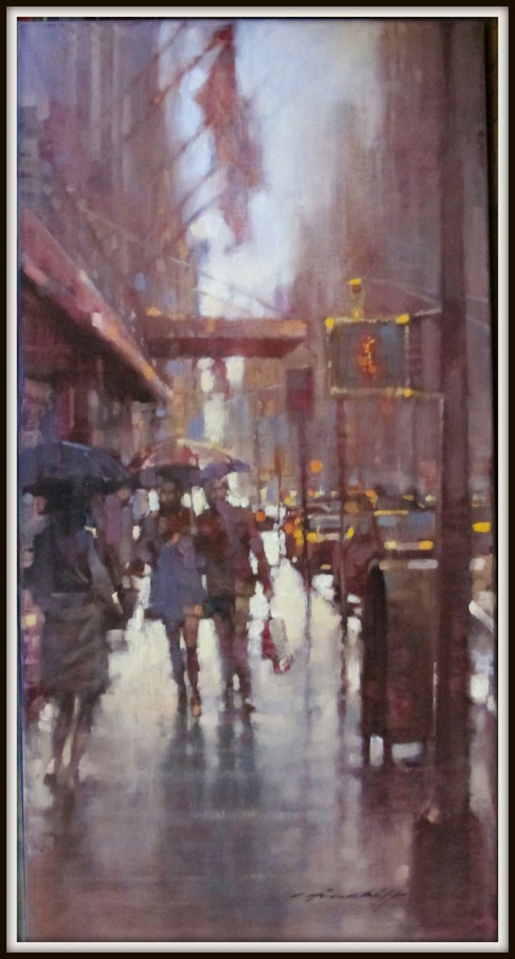 "David Hinchliffe - Works - New York  ""Raining on Fifth Avenue"" Oil on canvas. 18""x 36"""