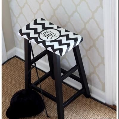 DIY Monogramed Chevron Stool {Ottomans & Stools}