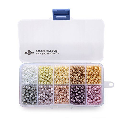 BRCbeads 4mm 1000pcs PASSION COLOR Tiny Satin Luster Glass Pearls Round Loose Beads   FREE Plastic Jewelry Container Box Wholesale Assorted Mix Lot For Jewelry Making * To view further for this item, visit the image link.