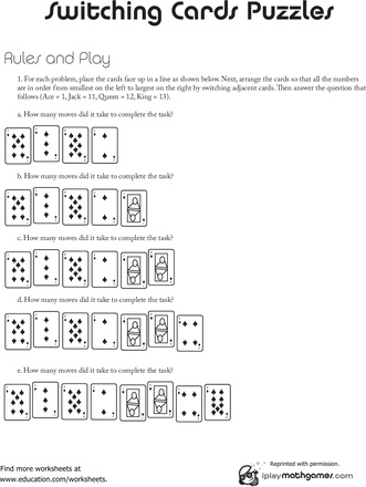 Worksheets: Fast Math Game