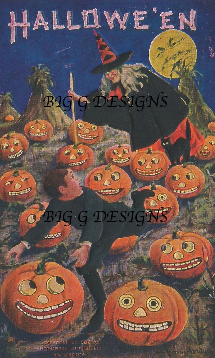 Antique 1908 International Art Co. Halloween postcard witch boy full moon pumpkin JOL jack o' lantern digital download printable image by BigGDesigns on Etsy