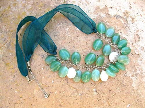 Aventurine Pearl necklace - for luck and calmness