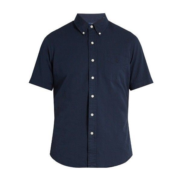 Polo Ralph Lauren Short-sleeved cotton-seersucker shirt ($65) ❤ liked on Polyvore featuring men's fashion, men's clothing, men's shirts, men's casual shirts, navy, mens slim fit shirts, mens button up shirts, mens casual short-sleeve button-down shirts, old navy mens shirts and mens slim fit casual shirts