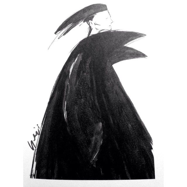 """Sketch by Yohji Yamamoto in """"My dear Yamamoto bomb"""""""