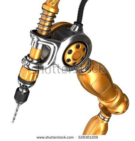 Robot arm drill. 3d image. Isolated on white