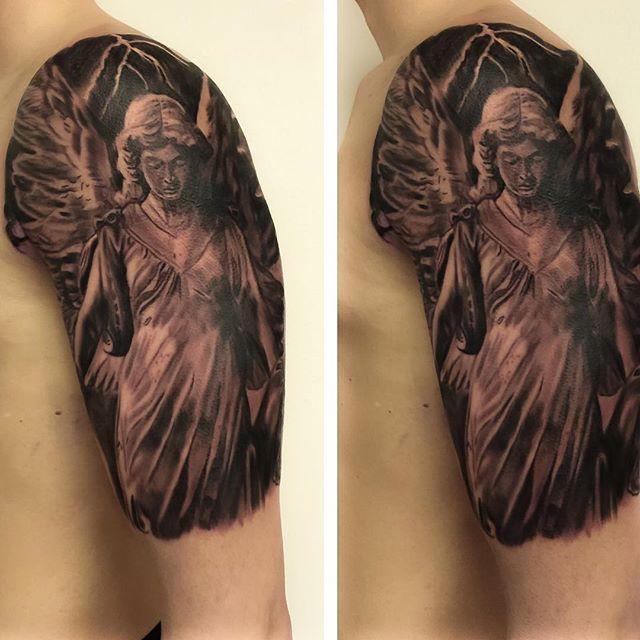 I will be at hamburg tattoo convention on 26-28 march..i have available time ..pls send message if u would like to book time..#angel#angeltattoo#blackandgrey #blackandwhite #vikink #vikinktattoo #inkjectaflitev2 #fredericia #freshink #denmark #hamburgtattooconvention #religious#inkedup #inklife #skinartmag #tattooart #realistictattoo #sculptures