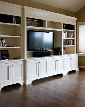 White Tv Cabinet Bookshelf Traditional Family Room Charleston Hostetler Custom Cabinetry