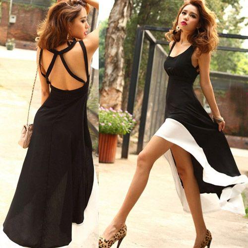 Women's Fashion Sexy U-Neck Backless Swallow Tail Design Long Dress $15.98