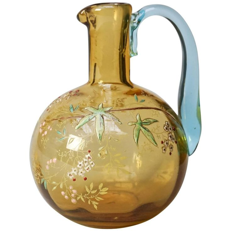 19th Century Victorian Amber Glass Enameled Flower Carafe by Legras