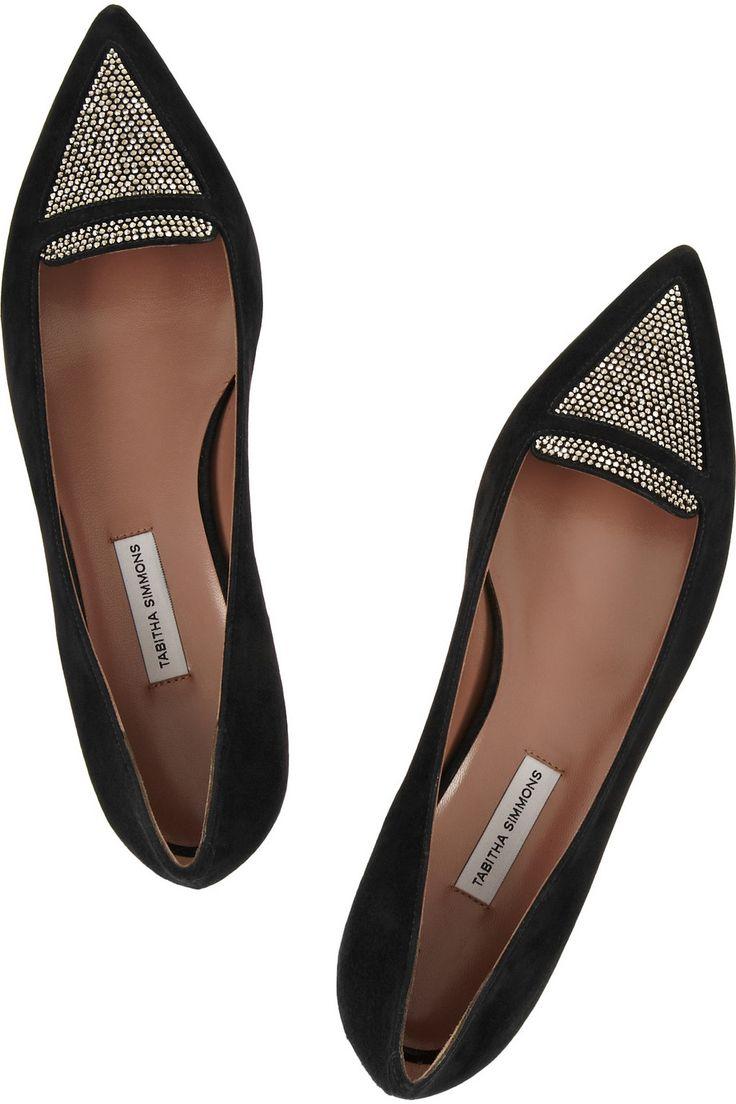Tabitha Simmons|Alexa embellished suede point-toe flats|NET-A-PORTER.COM