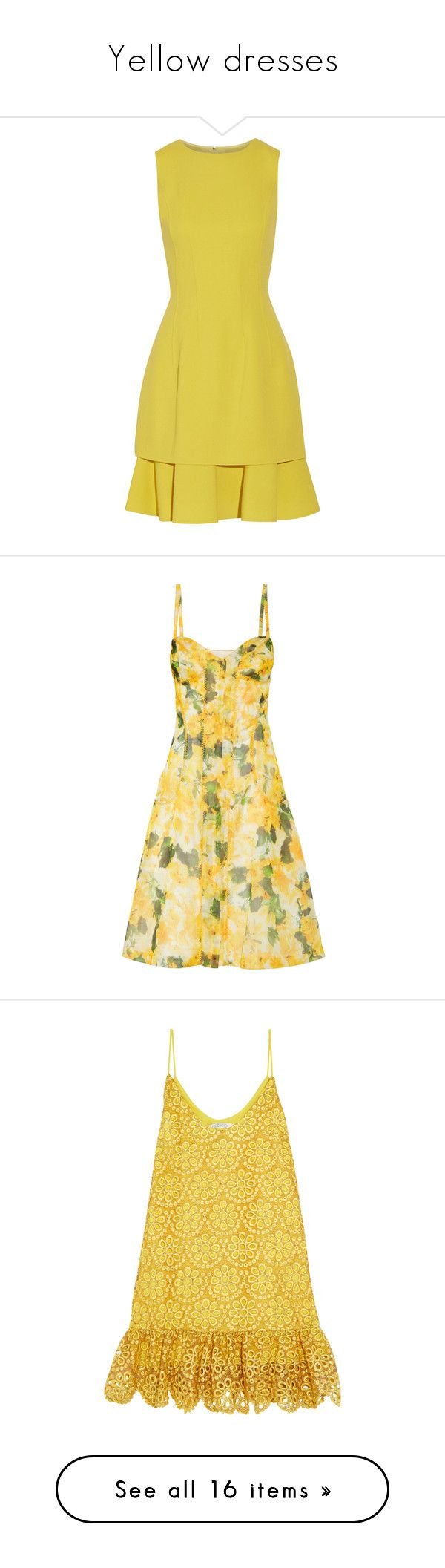 """""""Yellow dresses"""" by rosalinetomlinson ❤ liked on Polyvore featuring dresses, yellow, flounce dress, yellow ruffle dress, layered dress, fitted dress, loose fitting dresses, платья, oscar de la renta and embroidered dress"""