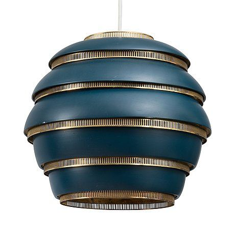 ALVAR AALTO, CEILING LAMP. Beehive A331. Blue painted metal shade and brass fittings,1953