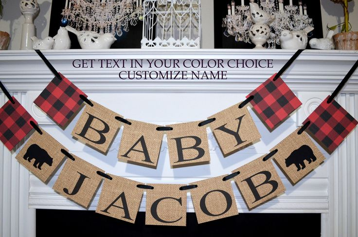 Lumberjack Baby Shower, Lumberjack Shower Decor, Baby Name Banner, Burlap Banner, Lumberjack Nursery, Baby Boy Shower, Custom Name Banner, by DCBannerDesigns on Etsy https://www.etsy.com/listing/555949579/lumberjack-baby-shower-lumberjack-shower
