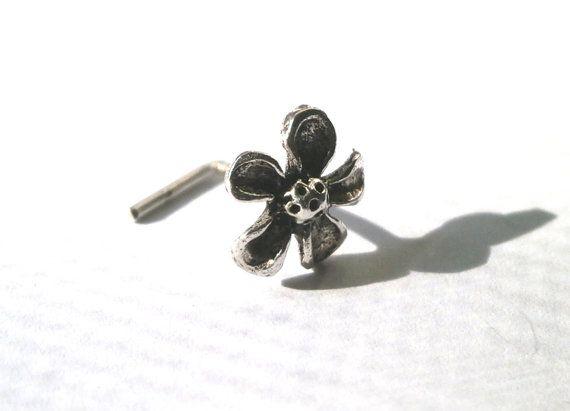 Tiny Nose Stud Silver Nose Stud Flower Nose by JewelryByKonstantis