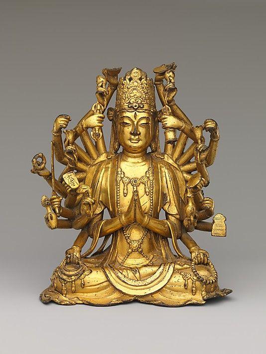 Bodhisattva Avalokiteshvara with One Thousand Hands and One Thousand Eyes (Qianshou Qianyan Guanyin), 11th-12th century, Dali Kingdon (937-1253), gilt arsenical bronze, lost wax cast, China
