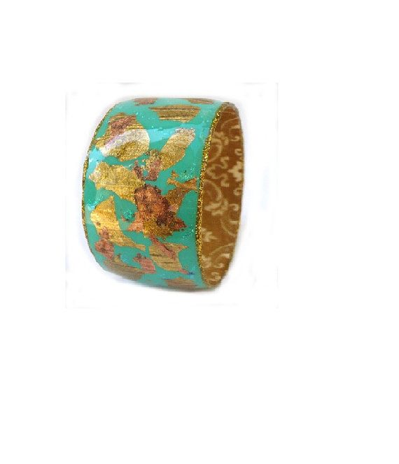Resin wide bangle - colorful green turquoise print and gold leaves coated resin.