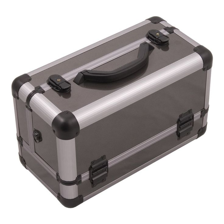 JUSTCASE 3-tiers Extendable Trays Professional Cosmetic Makeup Train Case (Gun Metal (Grey))