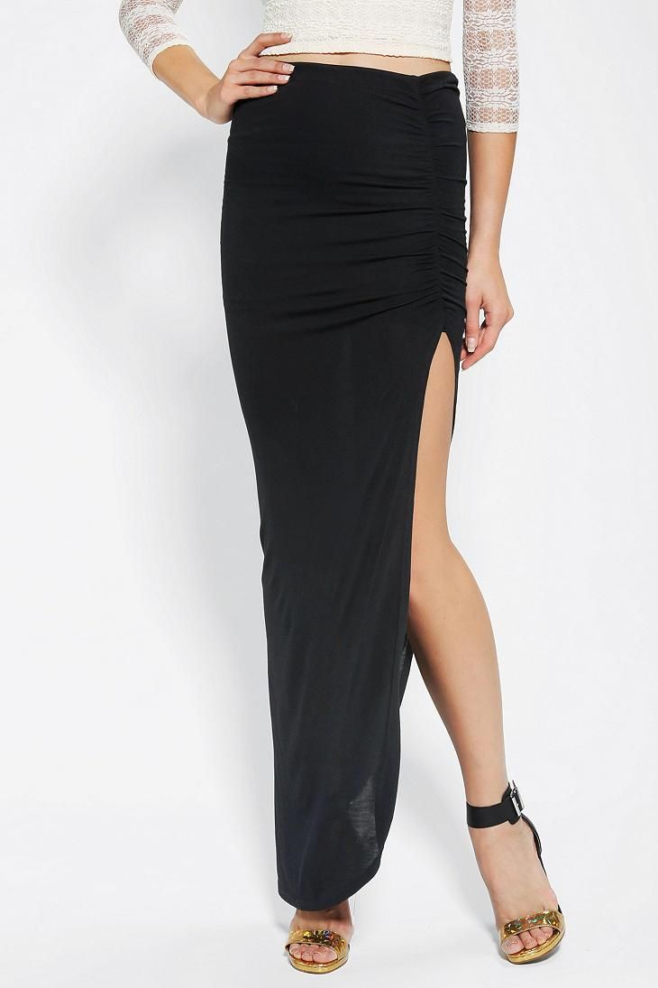 Costa Blanca Ruched Slit Maxi Skirt #urbanoutfitters