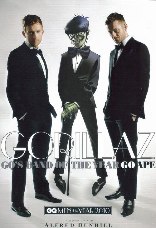 Damon Albarn, Murdoc & Jamie Hewlett on the cover of GQ