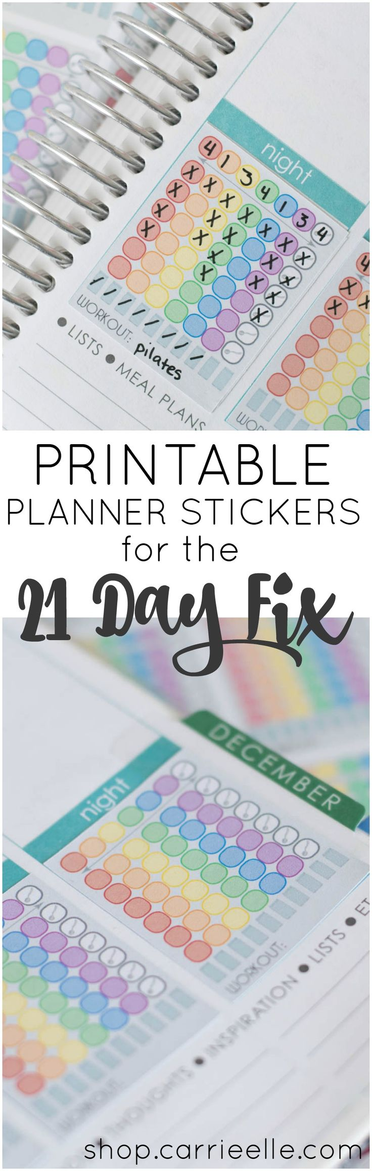 Printable 21 Day Fix Planner Stickers to track your daily containers, water, and exercise! All you need is some sticker paper and these cute stickers to make your own - they're perfect for your Erin Condren Life Planner but you can stick them anywhere.