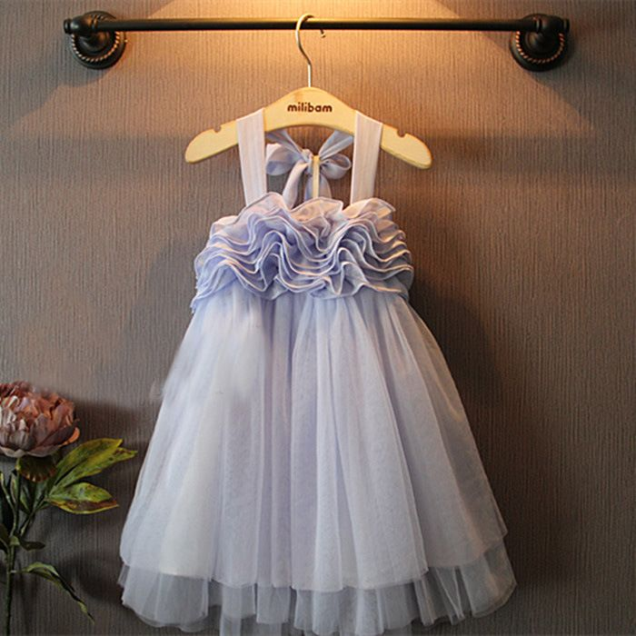 robes de filles coréennes Halter  Flower Girl Dresses for Weddings and Birthday Elegant Party Dresse