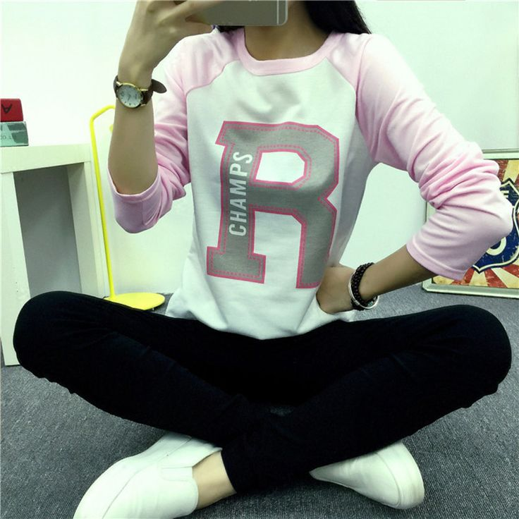 bts shirt women harajuku 2016 Autumn loaded korean letters printed pink long sleeve T-shirts tops t shirt for women Clothes exo