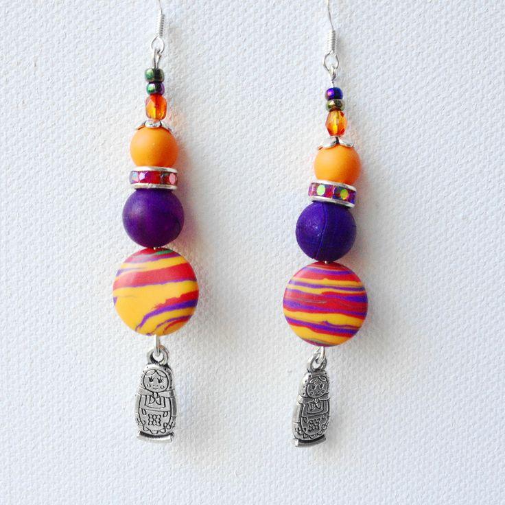 Boucles d'oreilles en argent 925,pierre de gemme multicolore et poupées maruchkas. : Boucles d'oreille par la-perruche-de-rio