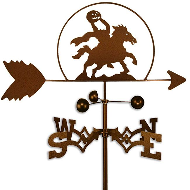 Bring a touch of Sleepy Hollow to your roof or garden with this Halloween-themed weathervane. Featuring the Headless Horseman in 14-gauge copper-colored powder-coated steel, this unique and whimsical weathervane will draw attention to your home.