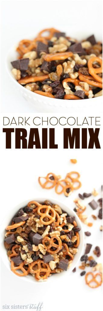 Dark Chocolate Trail Mix from SixSistersStuff.com | This super simple snack recipe is one the kids will love and one you won't feel bad about giving them!