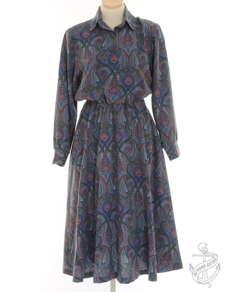 Vintage Giyim | Çıkarılabilir Vatka ile Vintaj Uzun kollu elbise Mavi