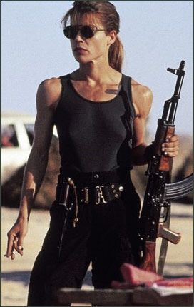 Linda Hamilton as Sarah Connor.   You can't diet your way to gunz like that!
