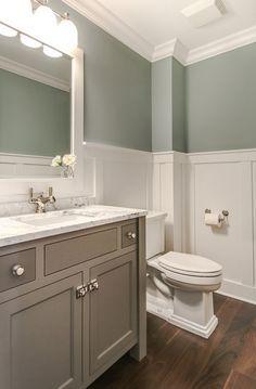 Bathroom Wainscoting. Bathroom wainscoting ideas. Bathroom wainscoting height. Bathroom with walnut flooring and white wainscoting. #Bathroom #Wainscoting  Redstart Construction.